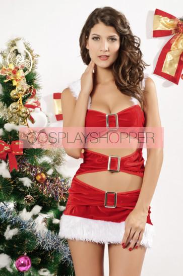 Sexy Velvet Hooded Adult Christmas Dress