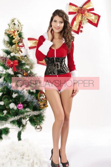 Sexy Velvet Hooded Long Sleeves Christmas Costume