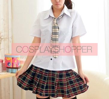 Short Sleeves Girl Cheerleader School Uniform Cosplay Costume