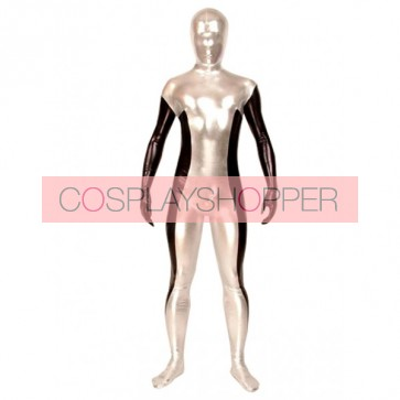 Silver And Black Full Body Unisex PVC Zentai Suit