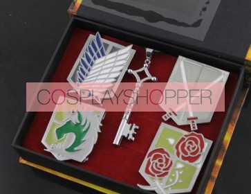 Silver Attack On Titan Breastpin And Necklace Set