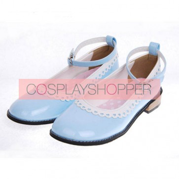 "Sky-Blue 1.0"" Heel High Cute Polyurethane Round Toe Ankle Straps Platform Girls Lolita Shoes"