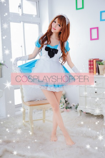 Sky-blue Sweet Short Sleeves Bow French Maid Uniform