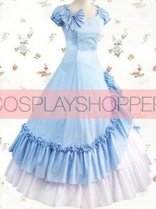 Short Sleeves Sky Blue & White Bow Ruffled Side Splitting Cotton Lolita Prom Dress