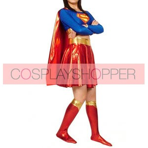 Superwoman Shiny Metallic Superhero Zentai Suit