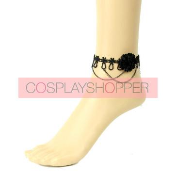 Sweet Black Handmade Floral Lady Lolita Ankle Belt