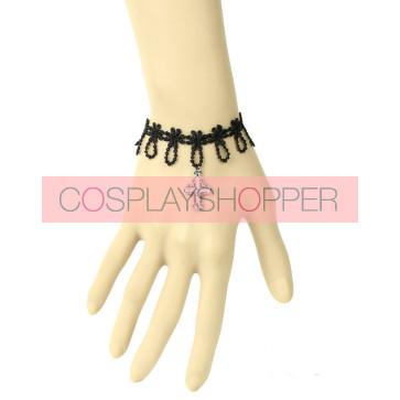 Sweet Black Lace Cross Girls Lolita Wrist Strap
