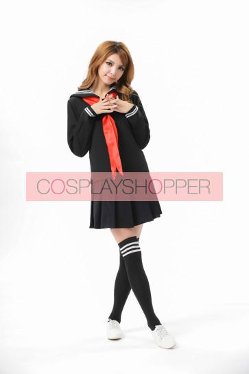 Sweet Black Long Sleeves School Girl Uniform