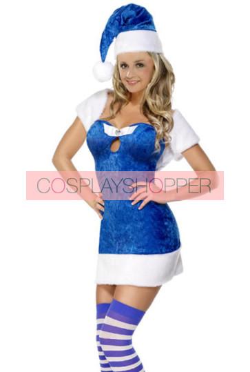 Sweet Blue Velvet Santa Christmas Dress