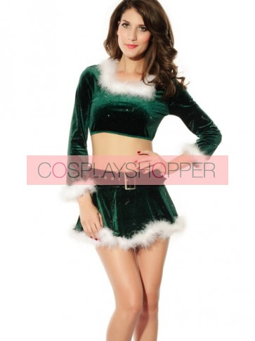 Sweet Green Polyester Long Sleeves Women Christmas Outfit