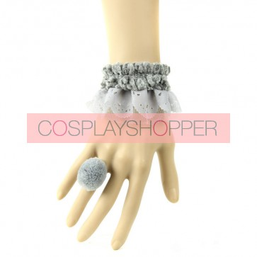 Sweet Grey Office Lady Handmade Lolita Bracelet And Ring Set