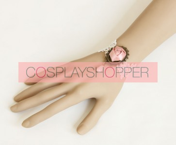 Sweet Lace Bead Rose Lolita Wrist Strap