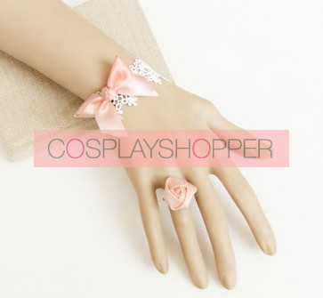 Sweet Pink Bow Rose Girls Lolita Bracelet And Ring Set