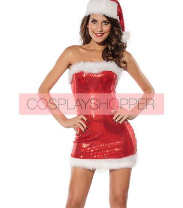 Sweet Polyester Strapless Santa Girls Christmas Dress
