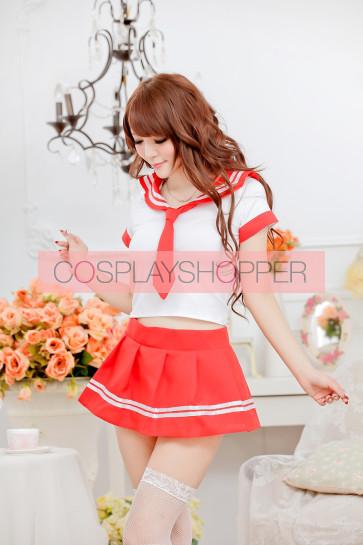 Sweet Red Short Sleeves School Girl Costume