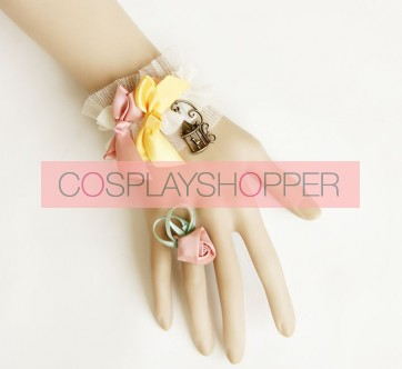 Sweet Retro Floral Girls Lolita Bracelet And Ring Set