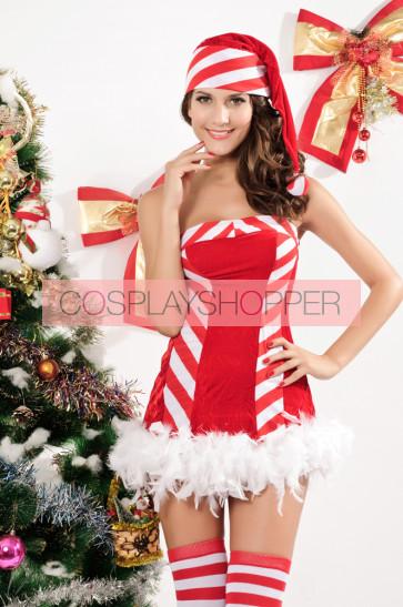 Sweet Santa Stripe Girl Christmas Dress