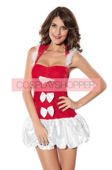 Sweet Velvet Bow Santa Christmas Dress