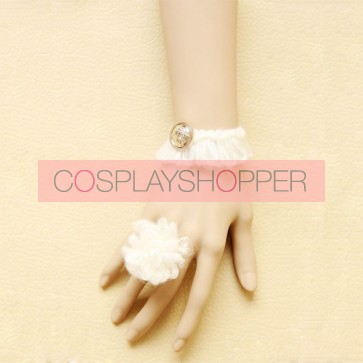 Sweet White Floral Lolita Bracelet And Ring Set
