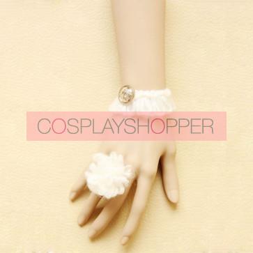 Sweet White Floral Lolita Bracelet And Ring Set