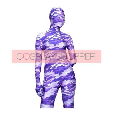 Violet Lycra Spandex Camouflage Unisex Zentai Suit