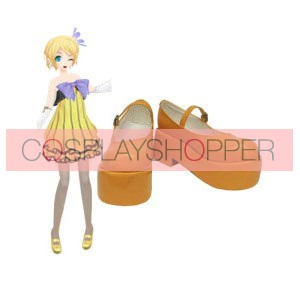 Vocaloid Orange Rin Kagamine Faux Leather Cosplay Shoes