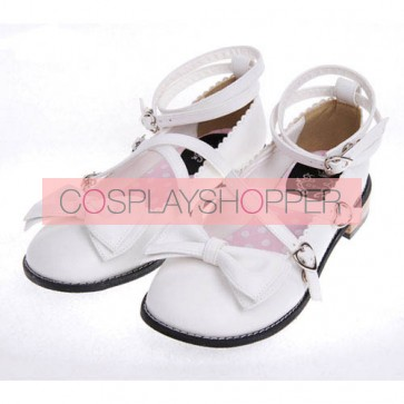 "White 1.0"" Heel High Adorable Polyurethane Point Toe Ankle Straps Platform Girls Lolita Shoes"