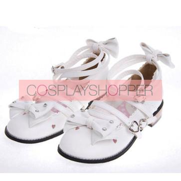 "White 1.0"" Heel High Cute Suede Round Toe Bow Platform Girls Lolita Shoes"