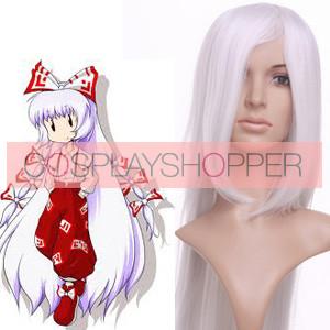 White 100cm Tonhou Project Fujiwara no Mokou Cosplay Wig