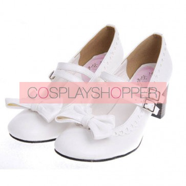 """White 2.5"""" Heel High Lovely Synthetic Leather Point Toe Bow Platform Girls Lolita Shoes"""