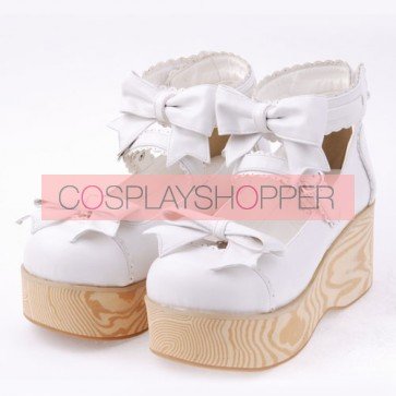 "White 2.7"" Heel High Special Patent Leather Round Toe Bow Decoration Platform Women Lolita Shoes"