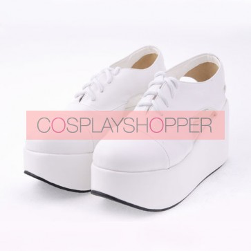 "White 3.1"" Heel High Romatic Suede Point Toe Cross Straps Platform Women Lolita Shoes"