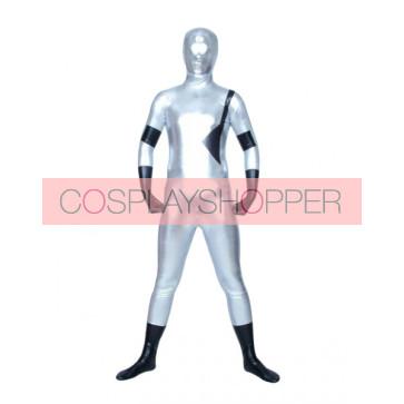 White And Black Full Body Shiny Metallic Unisex Zentai Suit
