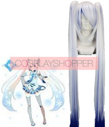 White and Blue 120cm Vocaloid Miku Cosplay Wig