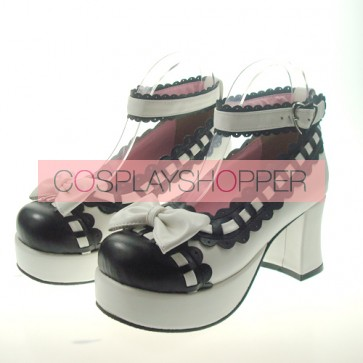 "White & Black 2.9"" Heel High Cute Synthetic Leather Round Toe Bowknot Platform Girls Lolita Shoes"