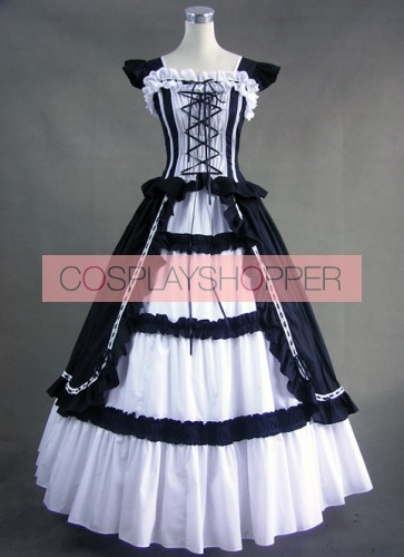 White & Black Cuff Sleeves Bandage Ruffled Cotton Gothic Lolita Dress