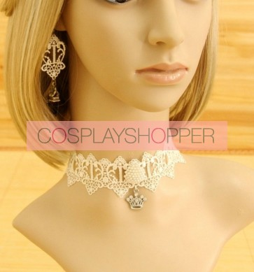 White Classic Lace Metal Crown Lolita Necklace