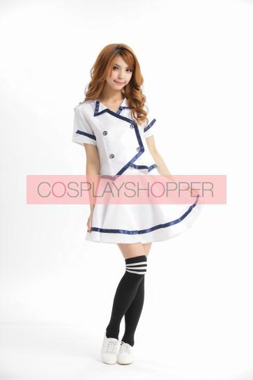 White Cute Strapless Turndown Collar Stewardess Costume