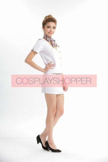 White Elegant V Collar Strapless Stewardess Costume