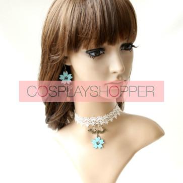 White Lace Metal Floral Lolita Necklace