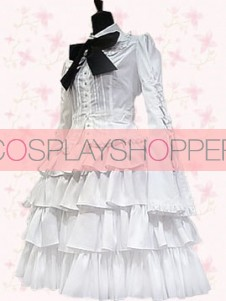 Long Sleeves White Ruffles Cotton Punk Style Gothic Lolita Dress