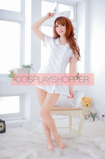 White Lovely Short Sleeves Turndown Collar Nurse Costume