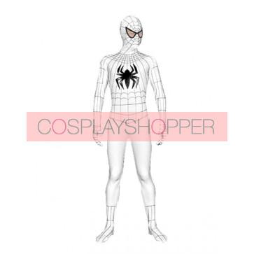 White Lycra Spandex Spiderman Zentai Suit With Black Spider