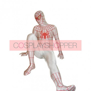 White Lycra Spandex Spiderman Zentai Suit With Red Spider