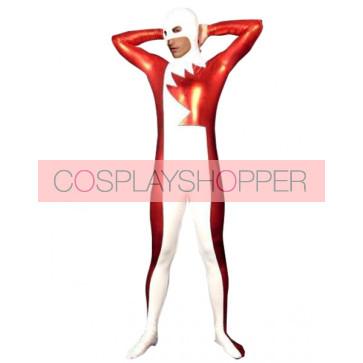White & Red PVC Zentai Suit