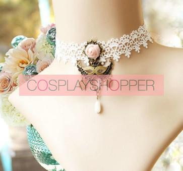 White Retro Lace Queen Lolita Necklace
