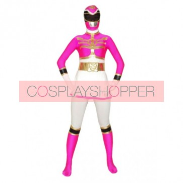 White & Rose Lycra Spandex Superhero Zentai Suit