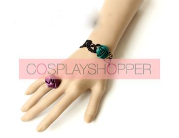 Wonderful Gothic Lace Rose Lady Lolita Bracelet And Ring Set