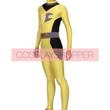 Yellow And Black Lycra Spandex Superhero Zentai Suit