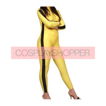 Yellow And Black Lycra Spandex Unisex Zentai Suit